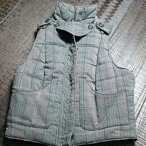 Guess Jeans Gray/Blue/Green Plaid Quilt Vest
